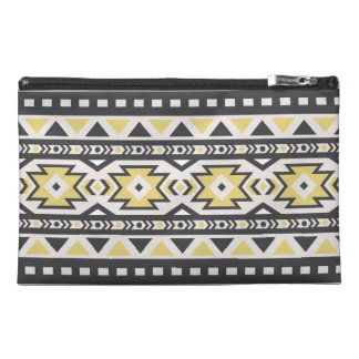 Black yellow aztec tribal hobo pattern travel accessory bag