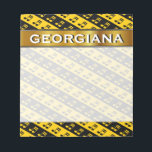 """Black &amp; Yellow Beamed Sixteenth Notes Pattern<br><div class=""""desc"""">This notepad design features a pattern of black and yellow stripes containing beamed sixteenth note musical symbols. This could make a great gift for a musician,  a composer,  or somebody who likes to listen to music. It also features a customizable name within a faux gold like colored area. [~Z0000037]</div>"""
