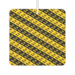 [ Thumbnail: Black & Yellow Beamed Sixteenth Notes Pattern Air Freshener ]