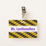 [ Thumbnail: Black & Yellow Beamed Sixteenth Notes Pattern Badge ]