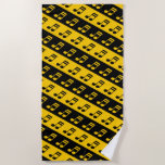 [ Thumbnail: Black & Yellow Beamed Sixteenth Notes Pattern Beach Towel ]