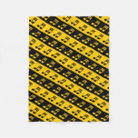 [ Thumbnail: Black & Yellow Beamed Sixteenth Notes Pattern Fleece Blanket ]