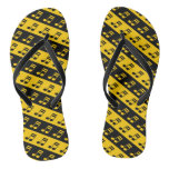 [ Thumbnail: Black & Yellow Beamed Sixteenth Notes Pattern Flip Flops ]