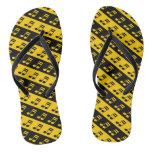 [ Thumbnail: Black & Yellow Beamed Sixteenth Notes Pattern Flip Flops ]