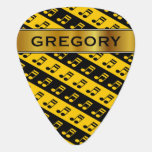 [ Thumbnail: Black & Yellow Beamed Sixteenth Notes Pattern Guitar Pick ]