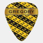 [ Thumbnail: Black & Yellow Beamed Sixteenth Notes Pattern Guitar Pick ]