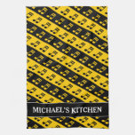 [ Thumbnail: Black & Yellow Beamed Sixteenth Notes Pattern Kitchen Towel ]