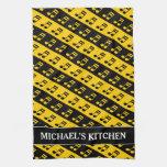 [ Thumbnail: Black & Yellow Beamed Sixteenth Notes Pattern Kitchen Towel ]
