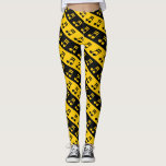 [ Thumbnail: Black & Yellow Beamed Sixteenth Notes Pattern Leggings ]