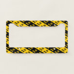[ Thumbnail: Black & Yellow Beamed Sixteenth Notes Pattern License Plate Frame ]