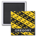 [ Thumbnail: Black & Yellow Beamed Sixteenth Notes Pattern Magnet ]