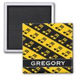 [ Thumbnail: Black & Yellow Beamed Sixteenth Notes Pattern Magnet ]