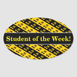 [ Thumbnail: Black & Yellow Beamed Sixteenth Notes Pattern Sticker ]