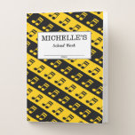 [ Thumbnail: Black & Yellow Beamed Sixteenth Notes Pattern Pocket Folder ]