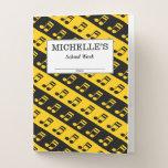 [ Thumbnail: Black & Yellow Beamed Sixteenth Notes Pattern Pocket Folder ]
