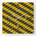 [ Thumbnail: Black & Yellow Beamed Sixteenth Notes Pattern Square Wall Clock ]