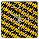 [ Thumbnail: Black & Yellow Beamed Sixteenth Notes Pattern Square Wall Clock ]