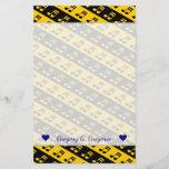 [ Thumbnail: Black & Yellow Beamed Sixteenth Notes Pattern Stationery ]