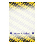 [ Thumbnail: Black & Yellow Beamed Sixteenth Notes Pattern Stationery ]