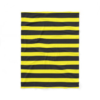Black, Yellow Bee-Like Stripes Pattern Fleece Blanket