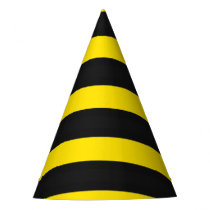 Black/Yellow Bee-Like Stripes Pattern Party Hat