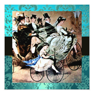 BLACK YELLOW  BLUE BICYCLE WEDDING DAMASK MONOGRAM INVITATION