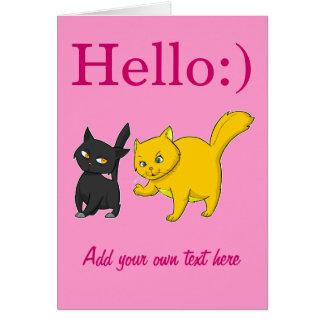 Black & Yellow Cat Greeting Cards