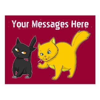 Black & Yellow Cat Post Card