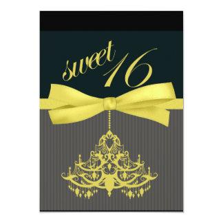 Black & Yellow Chandelier Sweet Sixteen Invitation