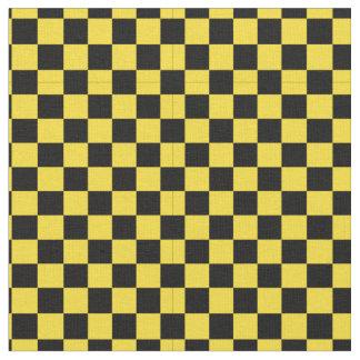 Black & Yellow Checker Pattern Fabric