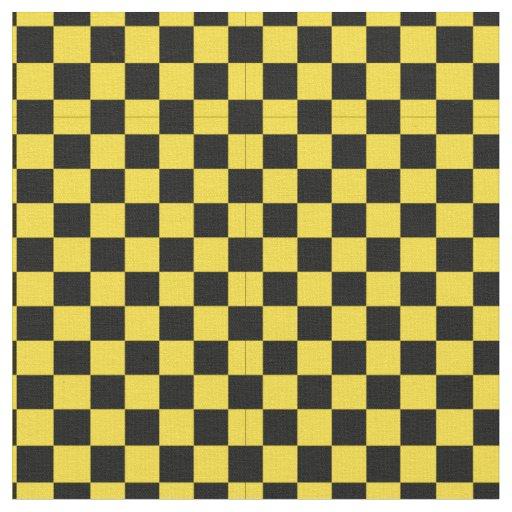 Black & Yellow Checker Pattern Fabric | Zazzle.com