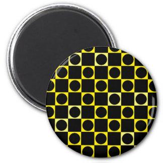 Black & Yellow Checkers Refrigerator Magnet
