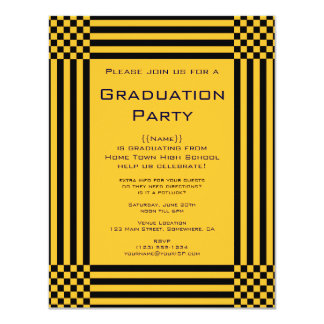 Black Yellow Checkers Stripes Graduation Party Card