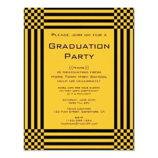 Black Yellow Checkers Stripes Graduation Party Invitations