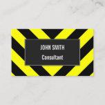 [ Thumbnail: Black & Yellow Chevron-Like Pattern Business Card ]