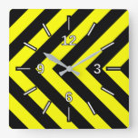 [ Thumbnail: Black & Yellow Chevron-Like Pattern Square Clock ]