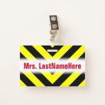[ Thumbnail: Black & Yellow Chevron-Like Pattern + Teacher Name Badge ]