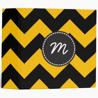 Black Yellow Chevron Pattern Custom Monogram 3 Ring Binder