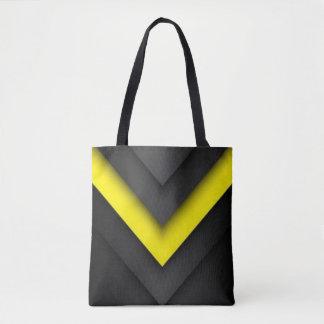 Black & Yellow Chevron Pattern Print Design Tote Bag