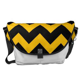 Black Yellow Chevron Zigzap Pattern Messenger Bag