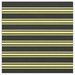 [ Thumbnail: Black & Yellow Colored Pattern Fabric ]