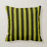 [ Thumbnail: Black & Yellow Colored Pattern Throw Pillow ]