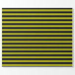[ Thumbnail: Black & Yellow Colored Pattern Wrapping Paper ]