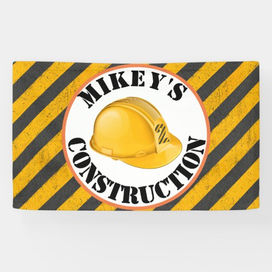 Black Yellow Construction Hard Hat 2nd Birthday Banner