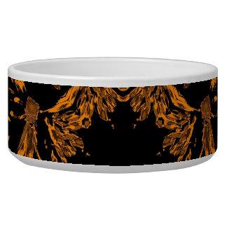 Black, Yellow copper Floral Damasks Retro Pattern Bowl