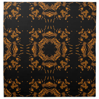 Black, Yellow copper Floral Damasks Retro Pattern Cloth Napkin