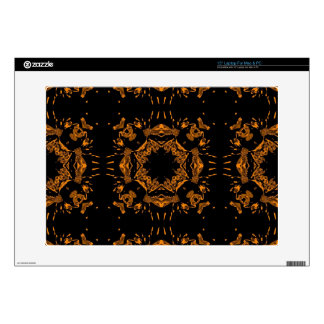 Black, Yellow copper Floral Damasks Retro Pattern Decals For Laptops
