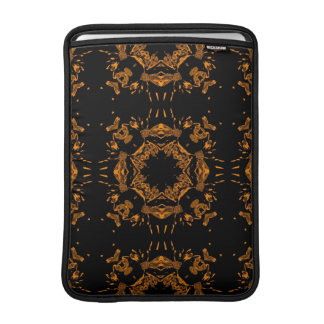 Black, Yellow copper Floral Damasks Retro Pattern MacBook Air Sleeve