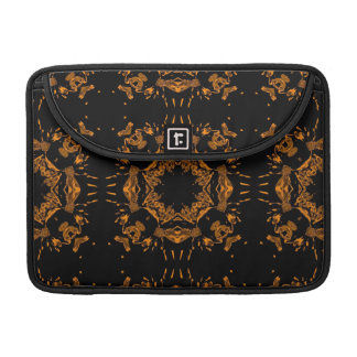 Black, Yellow copper Floral Damasks Retro Pattern MacBook Pro Sleeve