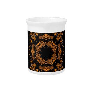 Black, Yellow copper Floral Damasks Retro Pattern Drink Pitcher
